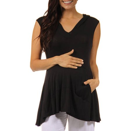 24/7 Comfort Apparel Women's Sleeveless Maternity Tunic Hoodie with a Kangaroo Pocket
