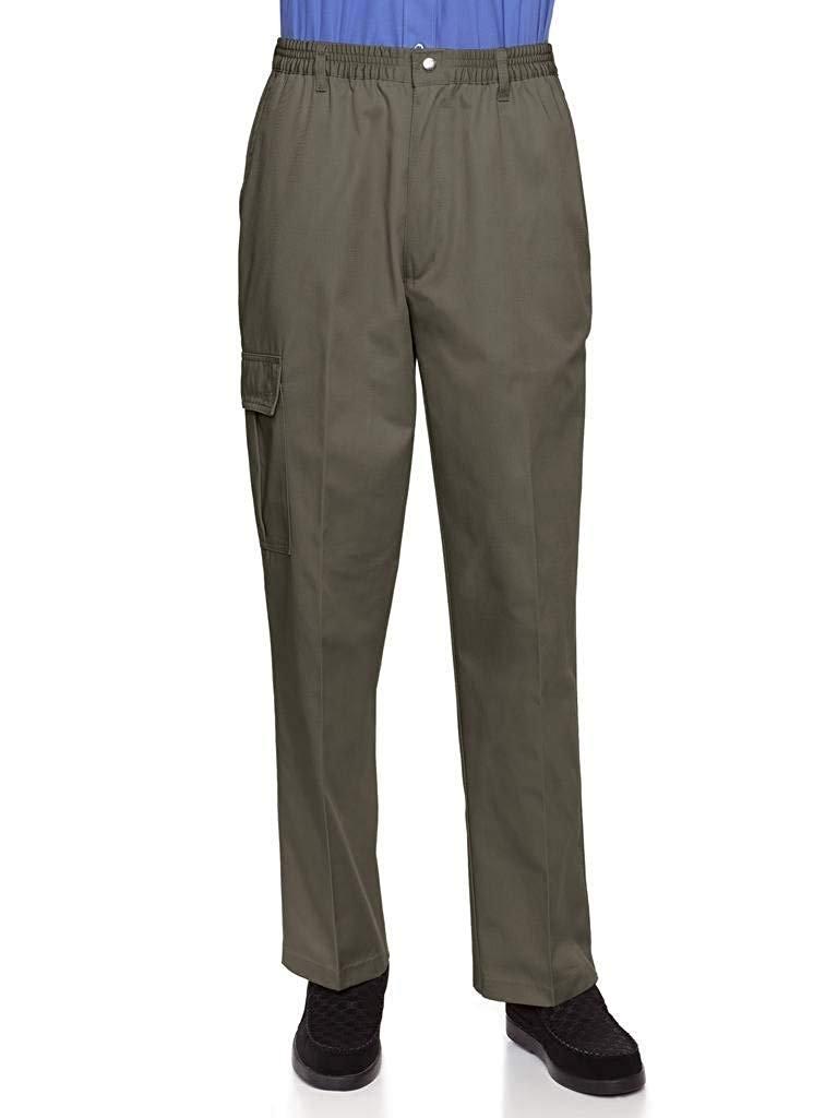 AKA Wrinkle Free Men's Full Elastic Waist Twill Casual Pant Olive 4X