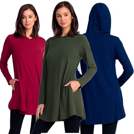 Lady's Hooded Long Sleeve Tunic Top with Two Pockets