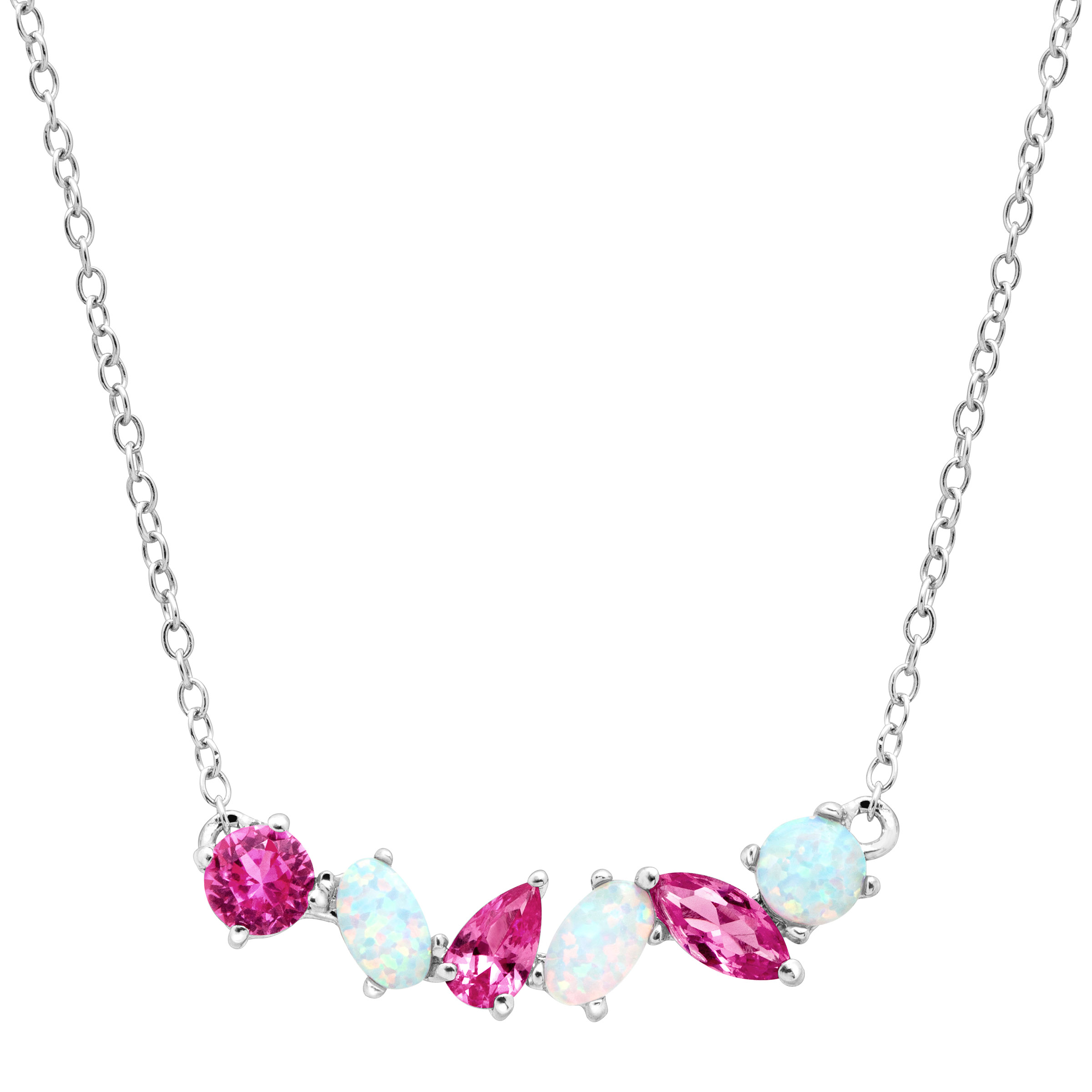 1 ct Created Pink Sapphire & Opal Garland Necklace in Sterling Silver by Richline Group