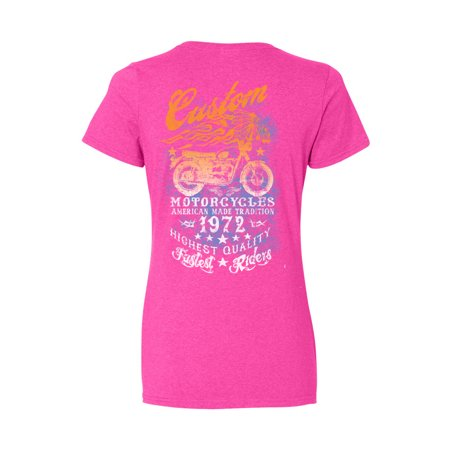 Diamond Motorcycle Shirt (Women's Ladies T Shirt American Made Tradition Motorcycles Graphic Tee)