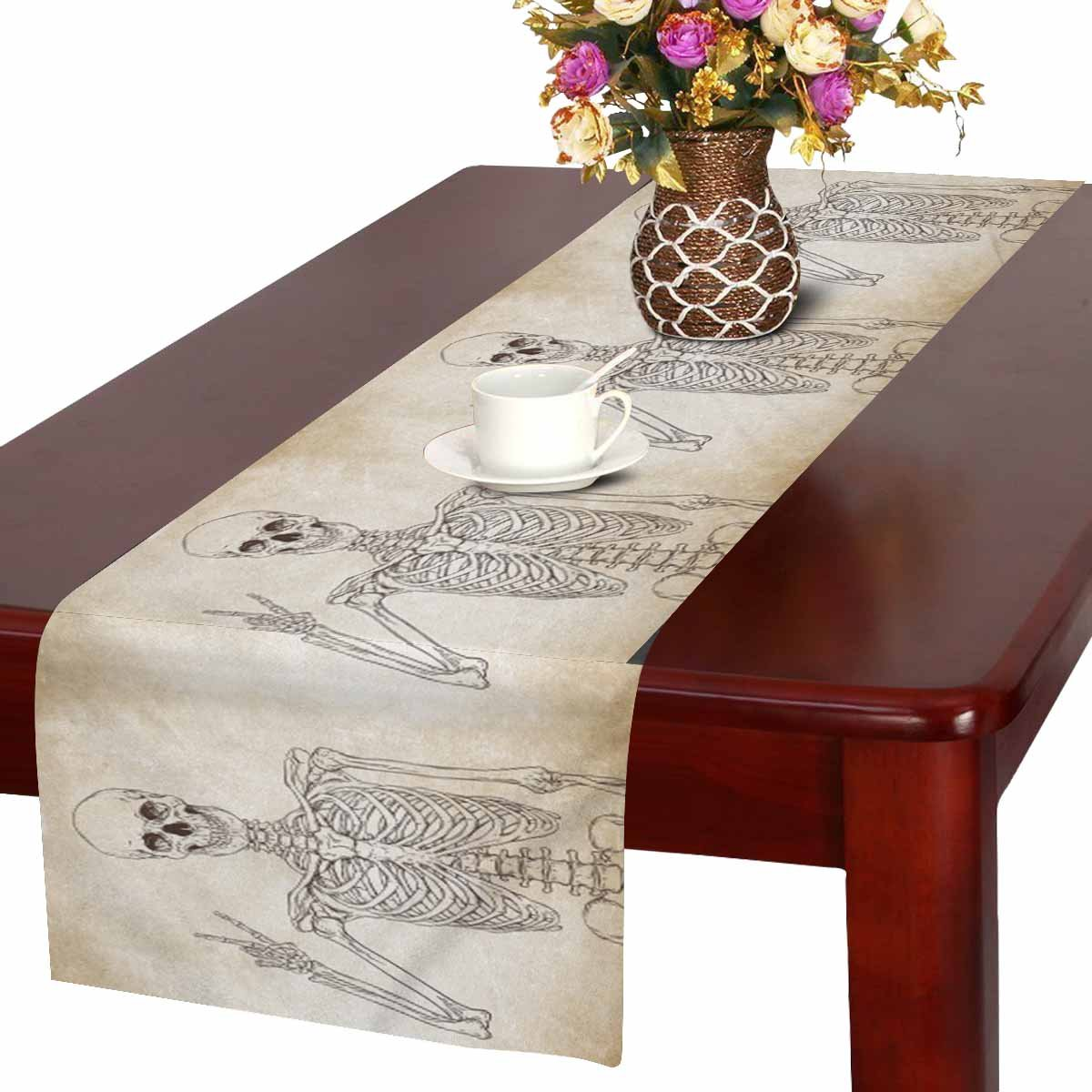 MKHERT Funny Human Skeleton Posing over Old Grunge Background Table Runner  for Office Kitchen Dining Wedding Party Banquet 16x72 Inch