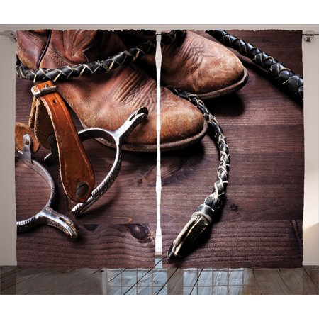 Western Decor Curtains 2 Panels Set, Authentic Old Leather Boots and Spurs Rustic Rodeo Equipment USA Style Art Picture, Window Drapes for Living Room Bedroom, 108W X 90L Inches, Brown, by Ambesonne