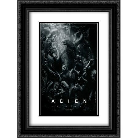 Alien  Covenant 18X24 Double Matted Black Ornate Framed Movie Poster Art Print