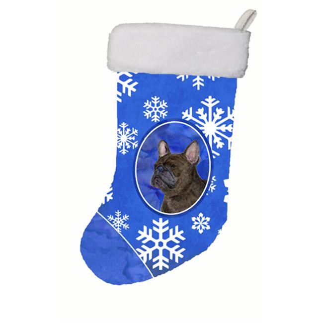 Carolines Treasures SS4657-CS 11 W x 8 H in. French Bulldog Winter Snowflakes Christmas Stocking - image 1 of 1