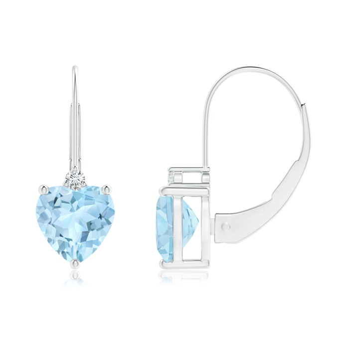 Angara Solitaire Heart Tanzanite Leverback Earrings with Diamond in White Gold n0CPms