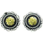 Western Women Earring Antiqued JB Flower 3/4 311-215