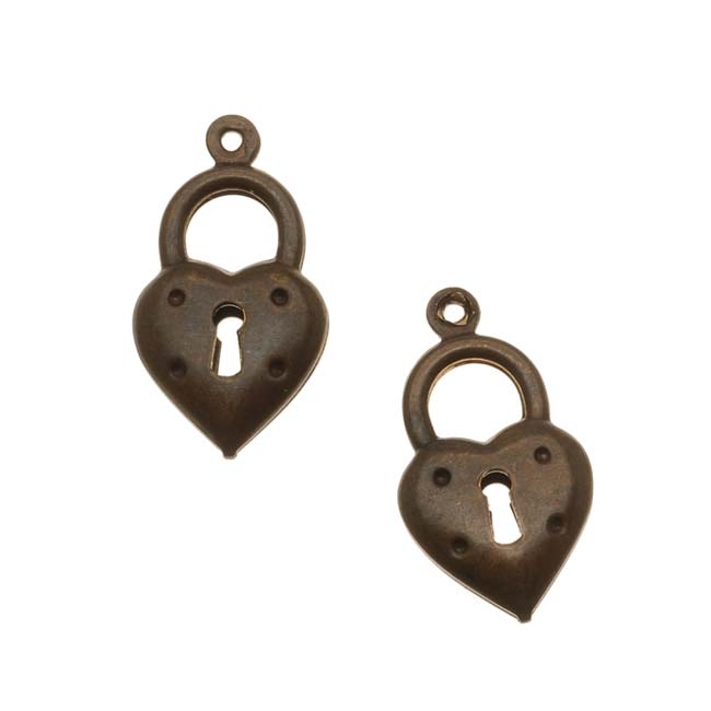 Vintaj Natural Brass Double Sided Heart Lock Charm Beads (2)