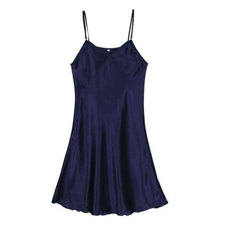 CHLTRA Women's Satin Nightgown Sexy v-neckline silky comfortable Lingerie Sleepwear - Sissy Pajamas