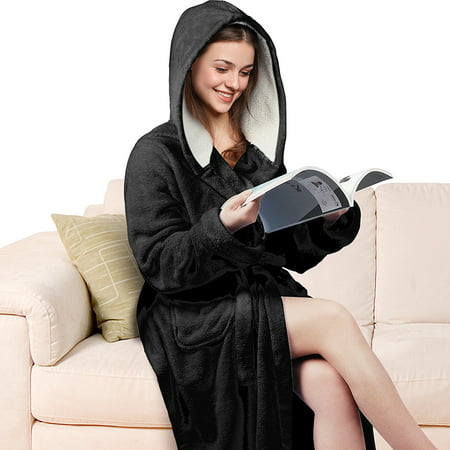 Super Soft Plush Robe (Women's Hooded Long Robe Fluffy Plush Fleece Bathrobe Super Soft )