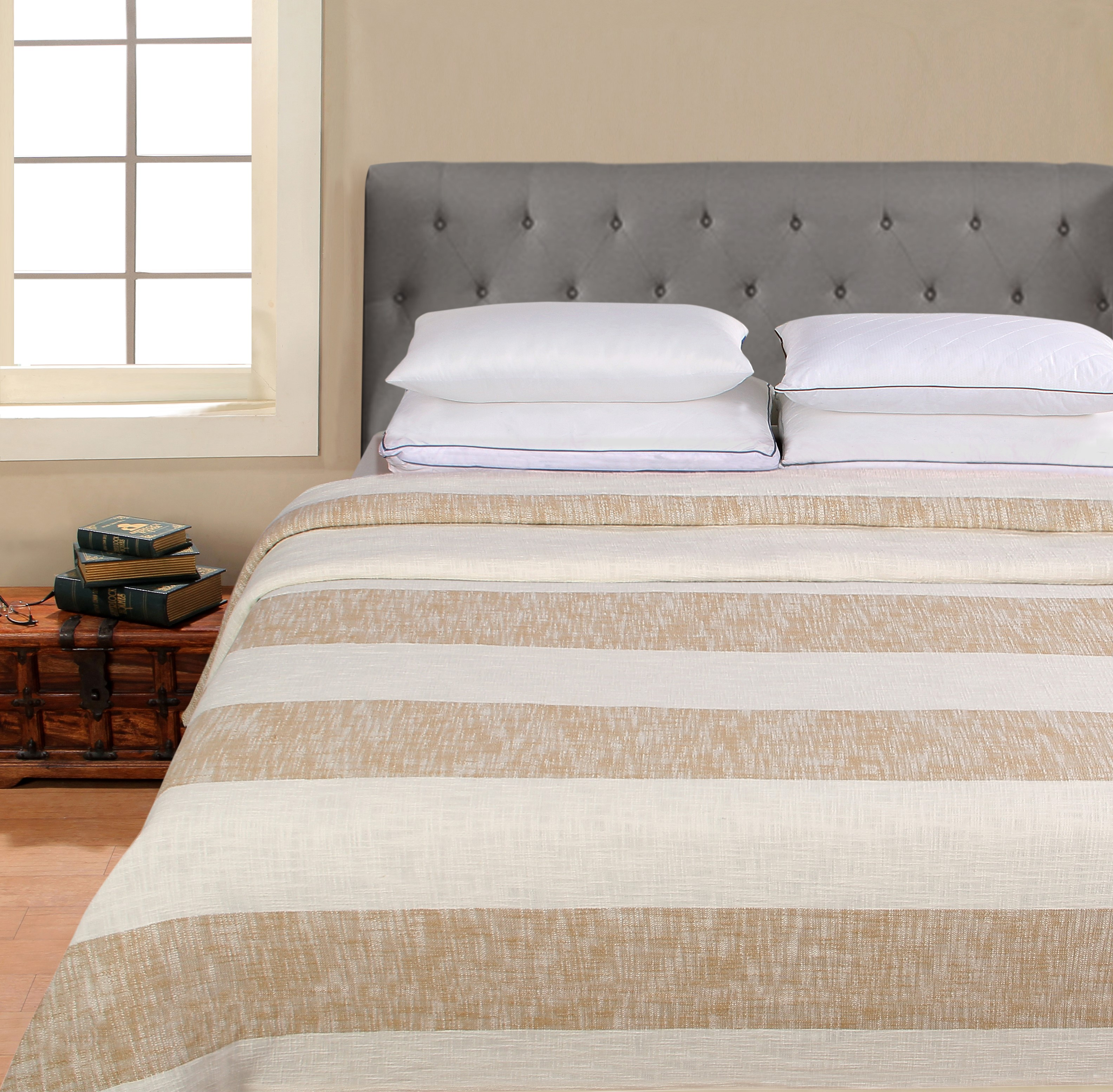 Better Homes & Gardens 100% Cotton Blanket - Washed Rugby Stripe Tan, Full/Queen