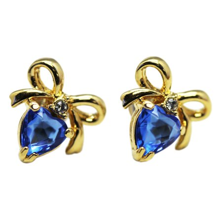 Gold Colored Setting Earrings w/Faux Sapphire Heart Stone