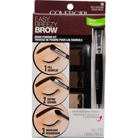 COVERGIRL Easy Breezy Brow Powder Kit, Rich Brown (Best Drugstore Brow Kit)