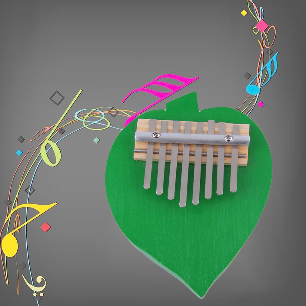 New Peach Heart Shaped 8 Keys Kalimba Mbira Thumb Piano Likembe Sanza Green~~^
