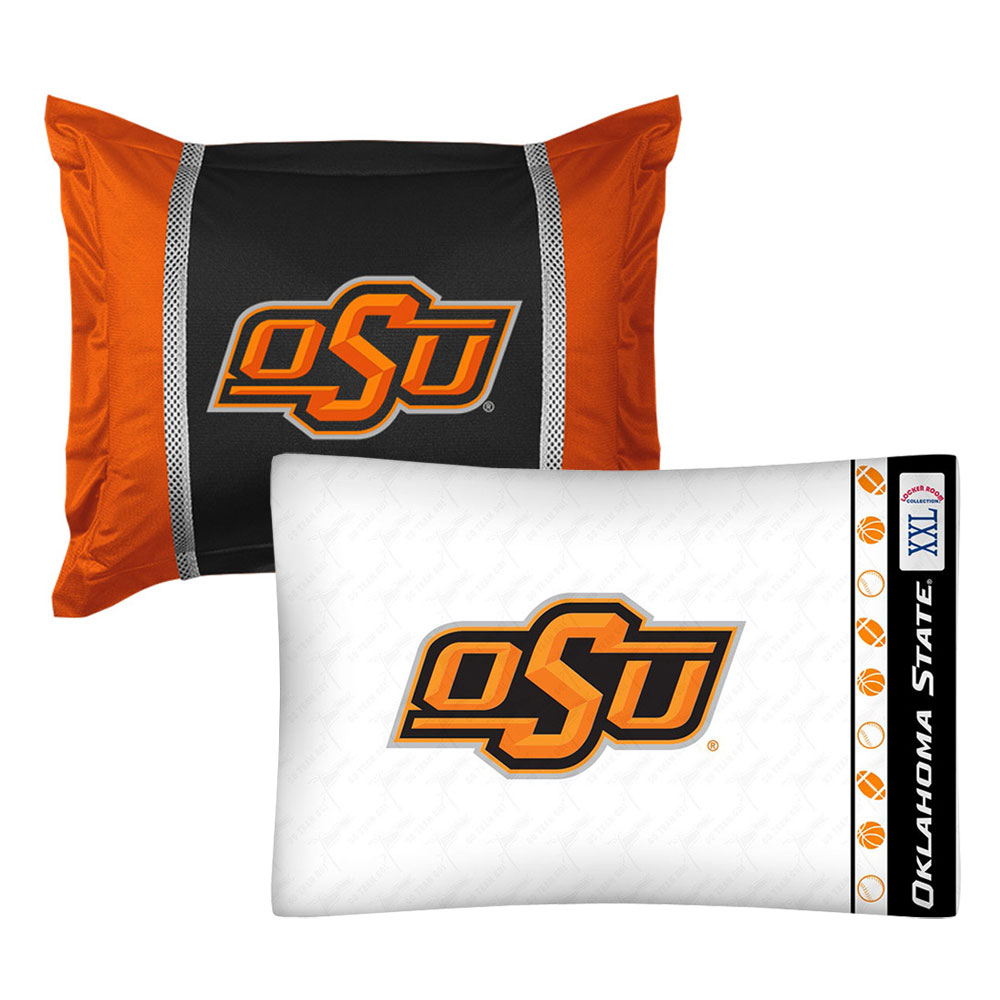 2pc NCAA Oklahoma State Cowboys Pillowcase and Pillow Sham Set College Team Logo Bedding Accessories
