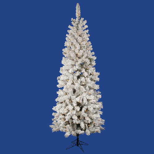Vickerman Flocked Pacific Pine 6.5' White Artificial Penc...