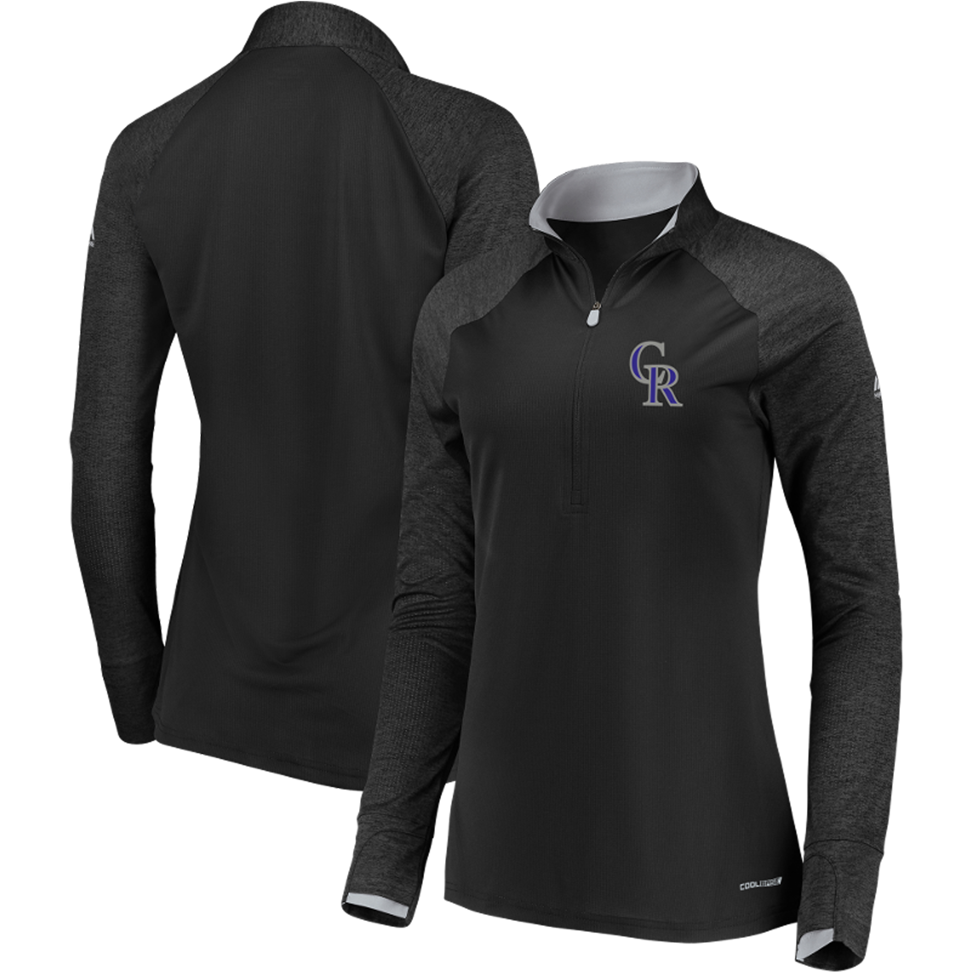 Colorado Rockies Majestic Women's Extremely Clear Cool Base Raglan 1 2-Zip Jacket Black by MAJESTIC LSG