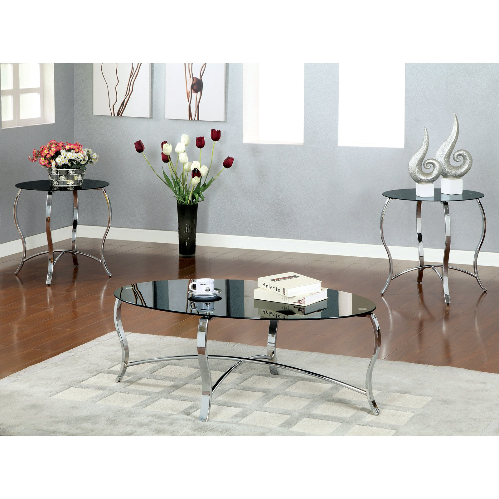 Furniture of America Ailen 3-Piece Tempered Glass Top Accent Table Set - Chrome / Black