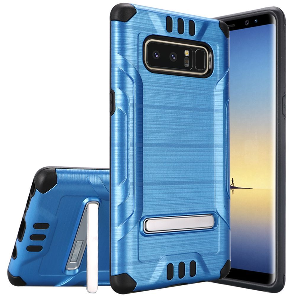 Samsung Galaxy Note 8 Case, by Insten Shockproof Dual Layer [Shock Absorbing] Hybrid Stand Brushed Hard Plastic/Soft TPU Rubber Case Cover For Samsung Galaxy Note 8, Black