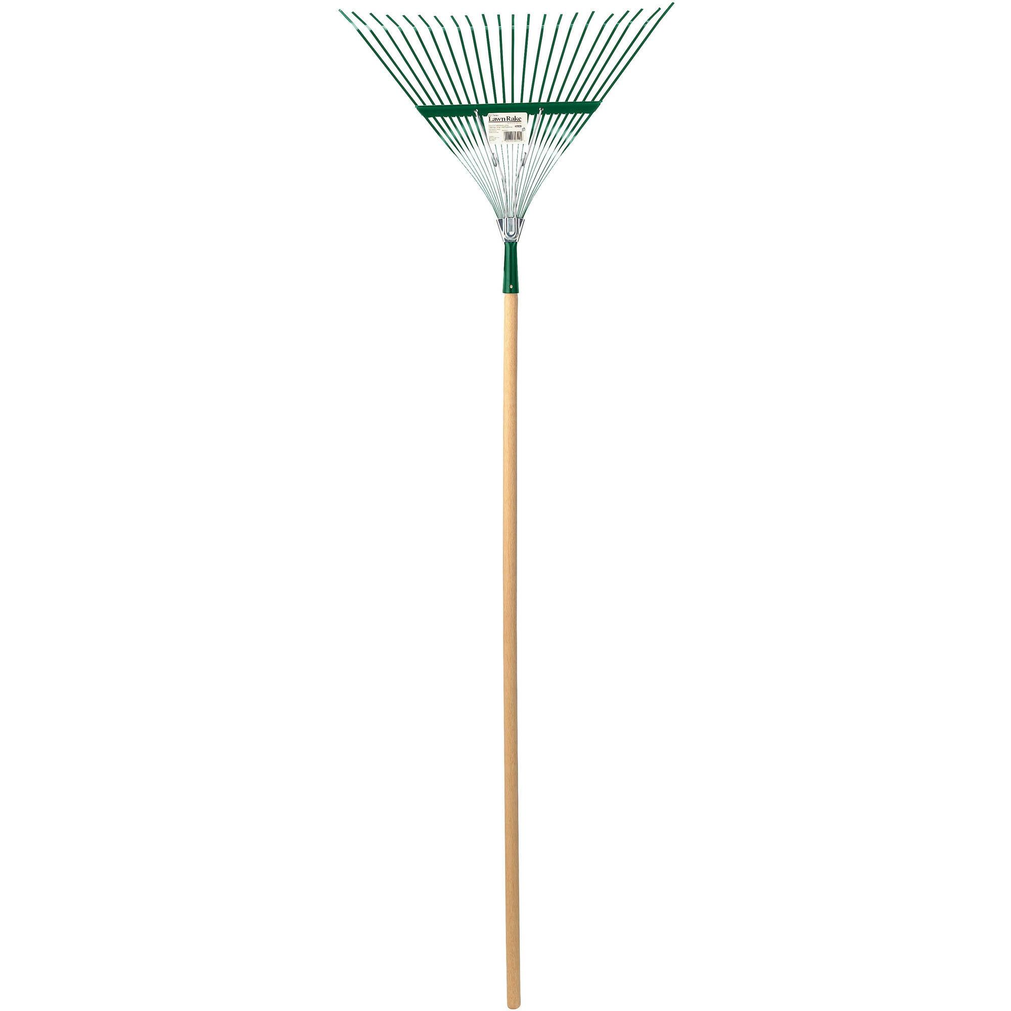 "Gardex 22 Tine Steel Coil-Spring Leaf/Lawn Rake with 48"" Wood Handle"