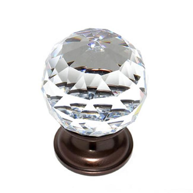 JVJHardware 36212 Pure Elegance 40mm - 1. 56 inch - Faceted Ball 31 Percent Leaded Crystal Knob - Old World Bronze