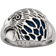 Stainless Steel Polished Blue Enamel Eagle Ring, Available in Multiple Sizes