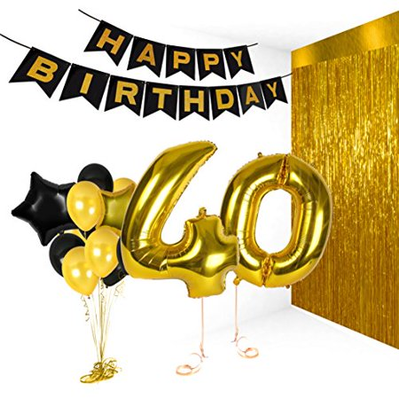 Birthday Decorations Happy Bday Banner Party Kit Pack B-day Celebration Supplies with Gold and Black Stars Balloons + Extra Large Golden Fringe Curtain for Men or Women (40th)
