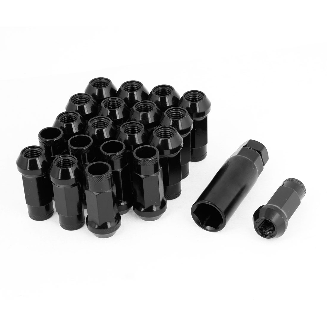 21 Pcs 12mm x 1.5mm Hexagonal Shape Security Lock Wheel Lug Nuts Black