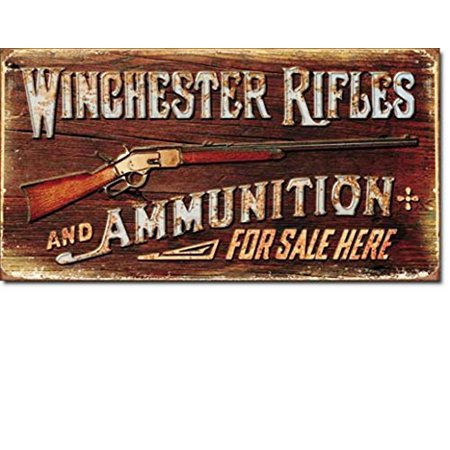 Winchester Rifles and Ammunition For Sale Here Distressed Look Tin Collectible Sign Gift Steel Shot Winchester Ammunition
