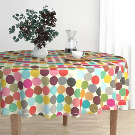 Round Tablecloth Mod Polka Dots Circle Palette Geometric Rainbow Cotton Sateen ()