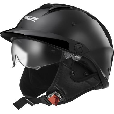 LS2 Helmets Rebellion Solid Half Motorcycle Helmet with Sunshield (Gloss Black, Small)