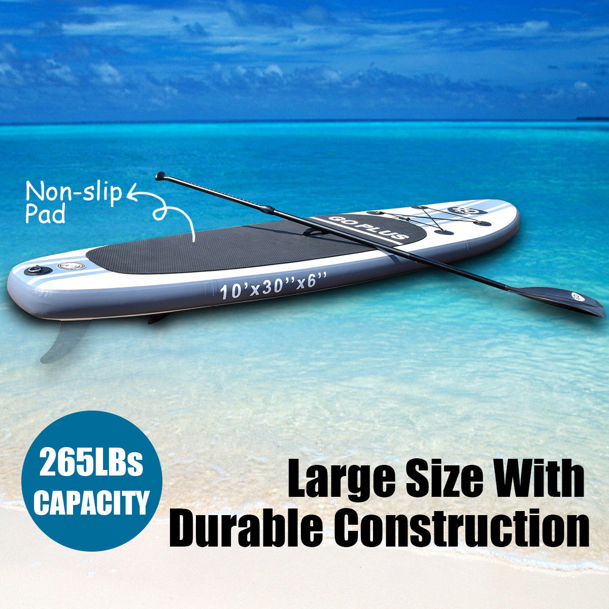 Goplus 10' Inflatable Stand Up Paddle Board SUP w  3 Fins Adjustable Paddle Backpack by Goplus