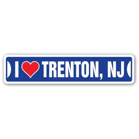 Party City Stores Nj (I LOVE TRENTON, NEW JERSEY Street Sign nj city state us wall road décor)