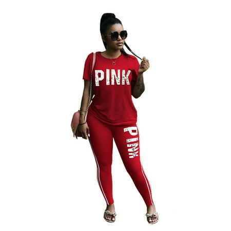 Women Summer Short Sleeve Tracksuit Sport Casual Set Pink Word Letter Print Sweatshirt Pantsuits Sweatpants Jumpsuits 2 Piece Outfits Tops Long Pants Trousers Sets