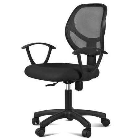 Long Back Chair - Yaheetech Adjustable Swivel Computer Desk Chair Fabric Mesh Office Chair with Arms Seating Back Rest,Black