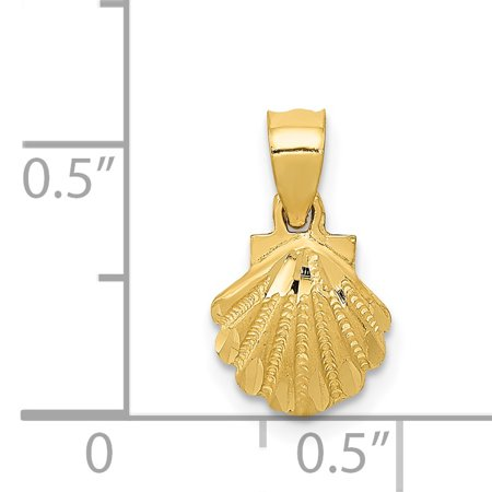 14k Yellow Gold Scallop Sea Shell Mermaid Nautical Jewelry Pendant Charm Necklace Shore Fine Jewelry For Women Gifts For Her - image 5 of 6