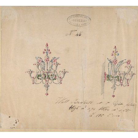 One of Twenty-Three Sheets of Drawings of Glassware (Mirrors Chandeliers Goblets etc) Poster Print by Compagnia di Venezia & Murano (18 x 24)