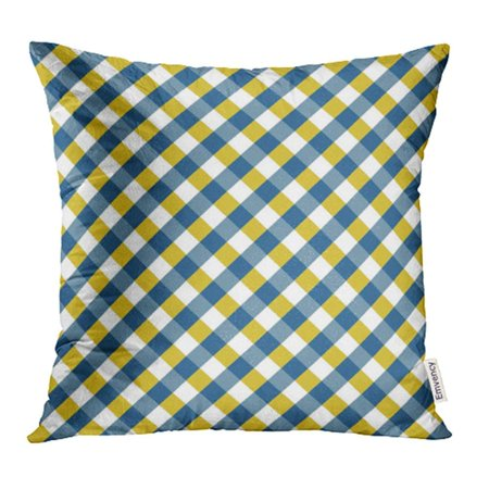 CMFUN Argyle Blue and Yellow Gingham Pattern Diagonal Rhombus Squares Breakfast Checkered Pillowcase Cushion Cases 18x18 inch](Yellow Gingham)