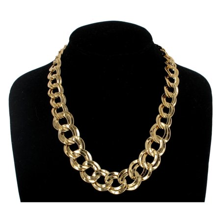 Gold Tone Metal Graduated Big Double Chain Link Circle Necklace  18