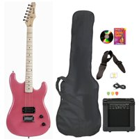 Davison Guitars Electric Guitar Pink Full Size With Amp Case Cord Picks And DVD