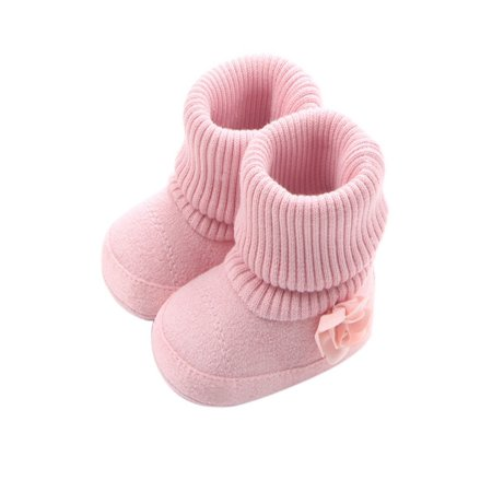 Newborn Baby Girl Flower Warm Snow Boots Shoes Toddler Soft Sole Booties (Baby Bootie Charm)