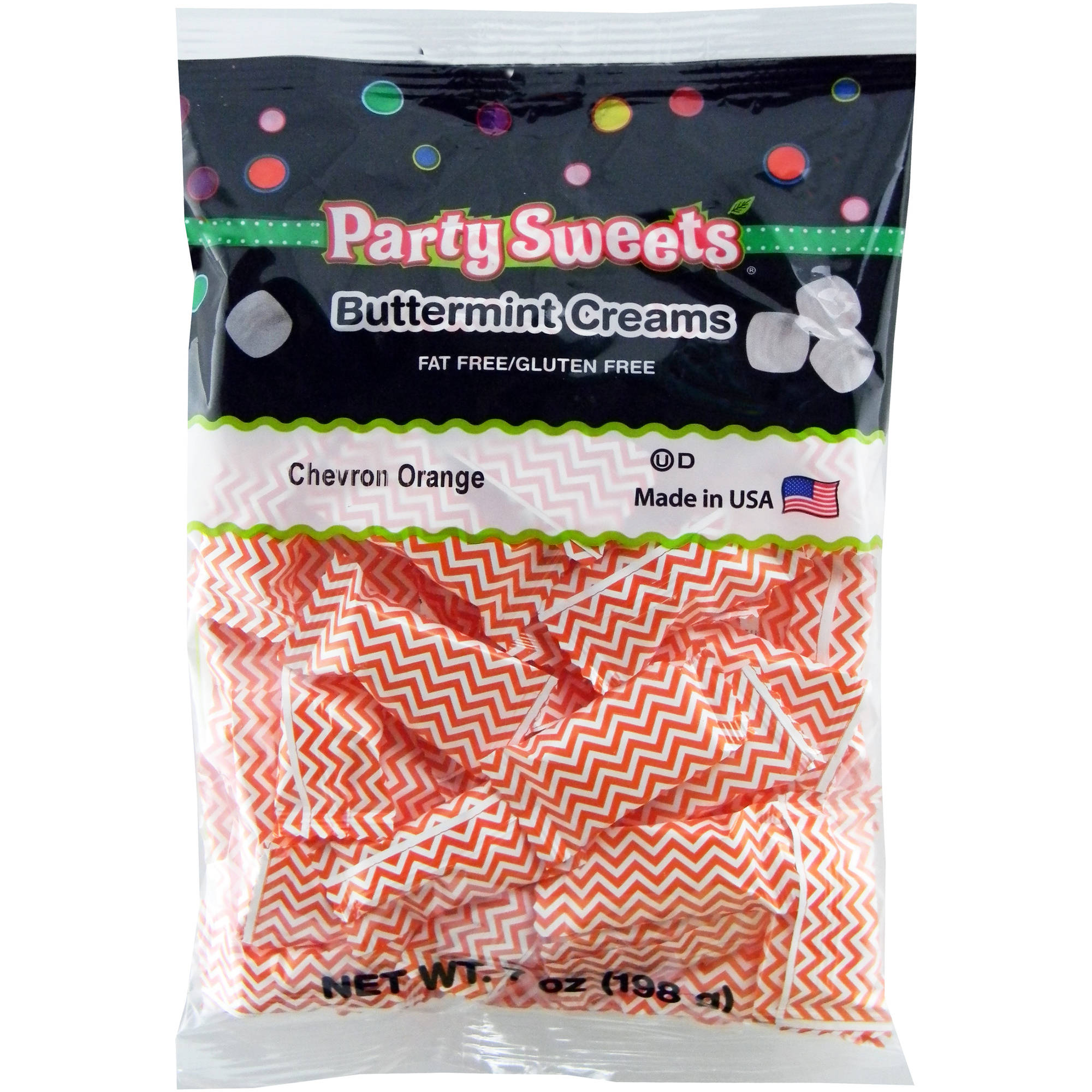 Party Sweets Chevron Orange Buttermint Creams Candy, 7 oz
