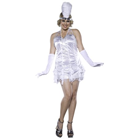 Charleston Cutie White Fringe 20s Flapper Adult Womens Plus Size Costume - (20's Cutie Costume)