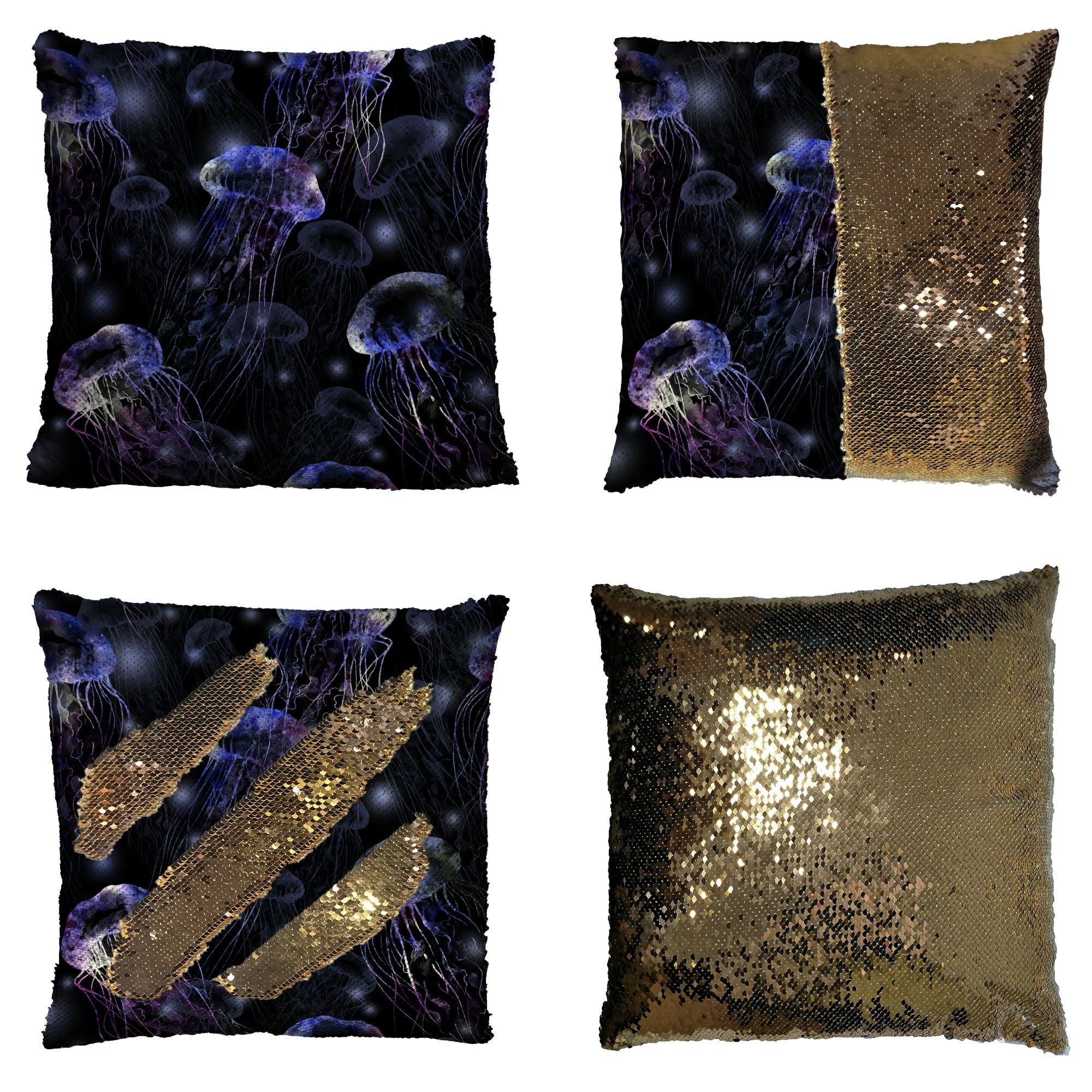 GCKG Underwater Pillowcase, Tropical Beach Magical Jellyfish Purple Reversible Mermaid Sequin Pillow Case Home Decor Cushion Cover 16x16 inches