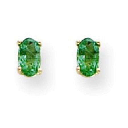 (14k 5x3mm Oval Emerald Earrings)