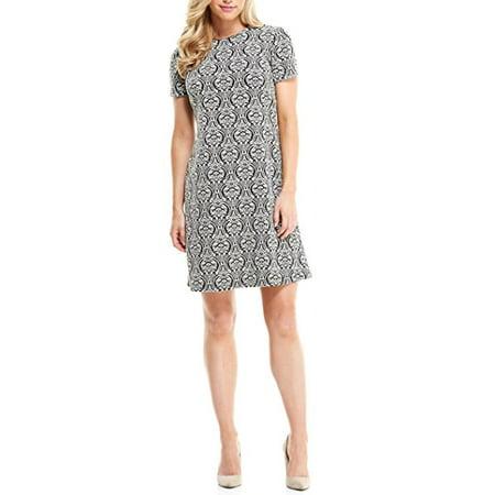 London Times Women Short Sleeve Scroll Print Shift Dress Wear