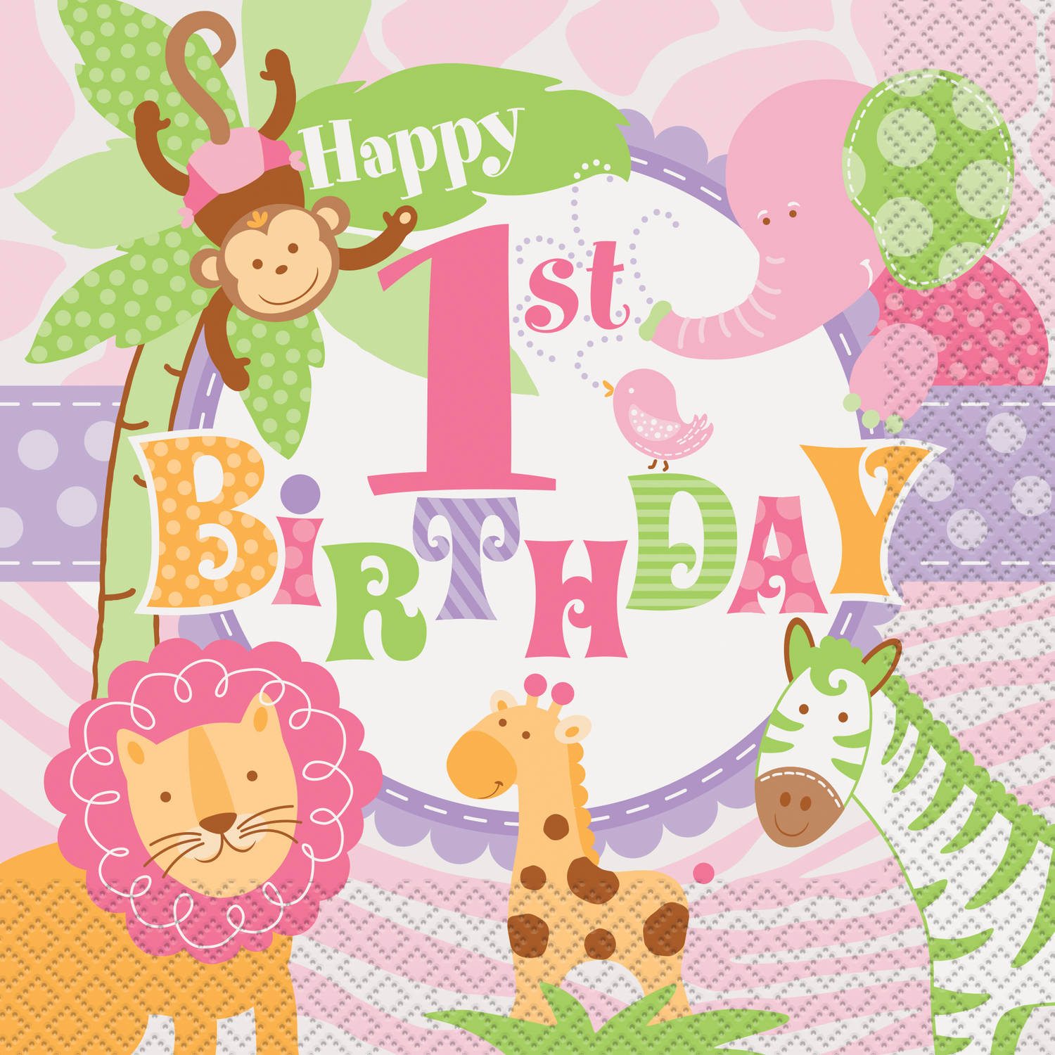 Pink Safari 1st Birthday Luncheon Napkins, 20-Count