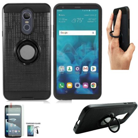 Phone Case for Straight Talk LG Stylo 4 Prepaid / Boost Mobile LG Stylo 4 Case / LG Stylo 4 Case / Stylo 4 Plus Tempered Glass with Finger Holder (Ring-Stand Black-Black TPU/Tempered Glass) ()