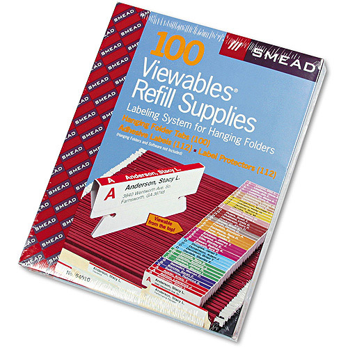 "Smead Viewables Color Labeling System, Pack Refill, 3 1/2"", Assorted, 100/Pack"