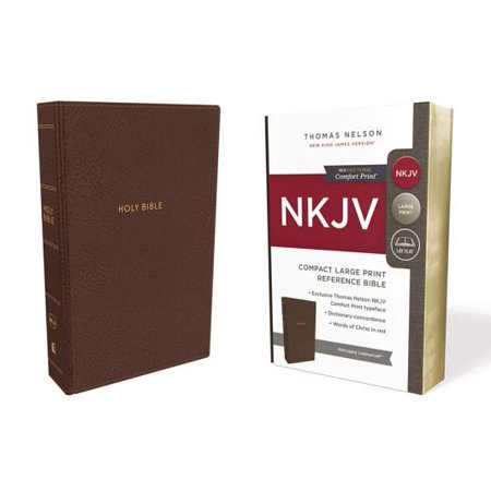 NKJV, Reference Bible, Compact Large Print, Imitation Leather, Brown, Red Letter Edition, Comfort